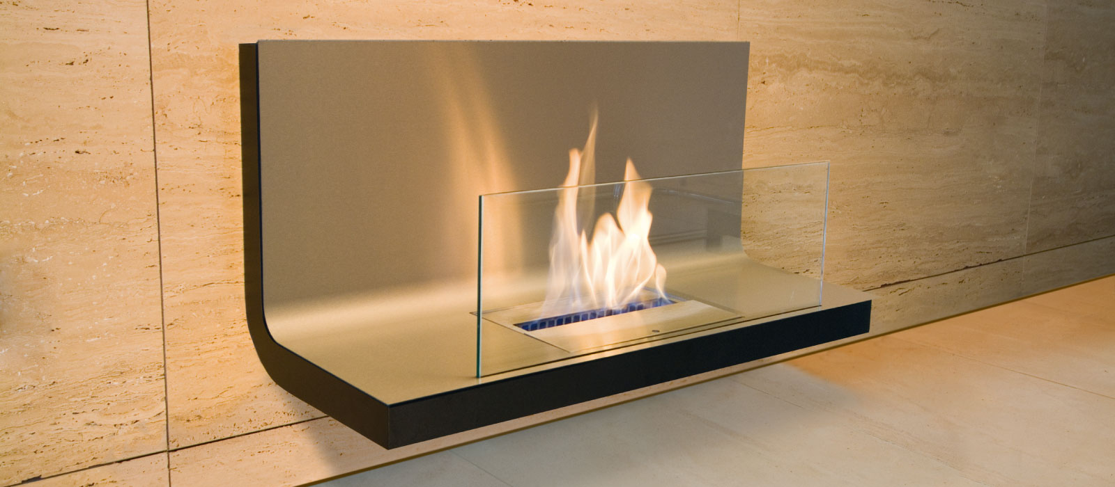 wall flame bio ethanol fireplace by radius design. Black Bedroom Furniture Sets. Home Design Ideas