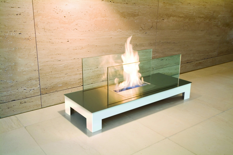 FLOOR FLAME STAINLESS STEEL WHITE