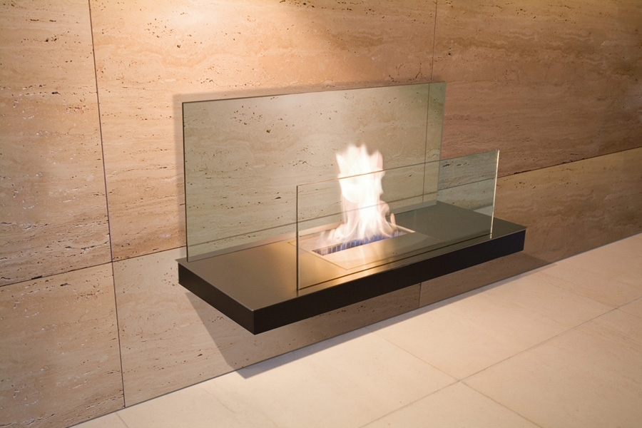 WALL FLAME 2 ST. STEEL BLACK GLASS CLEAR