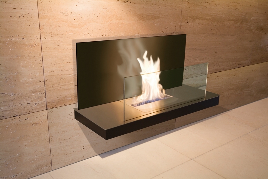 WALL FLAME 2 STAINLESS STEEL GLASS BLACK