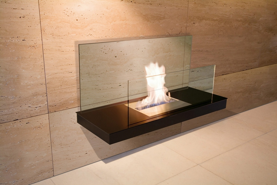 WALL FLAME 2 BLACK GLASS CLEAR