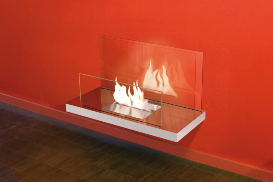 WALL FLAME 2 POLISHED WHITE GLASS CLEAR