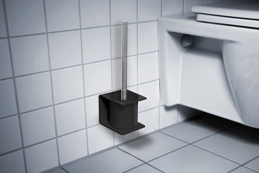 TOILET BRUSH HOLDER BLACK - ADHESIVE