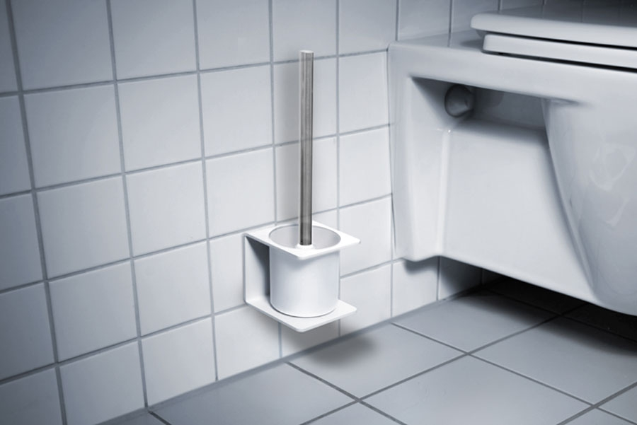 TOILET BRUSH HOLDER WHITE - ADHESIVE