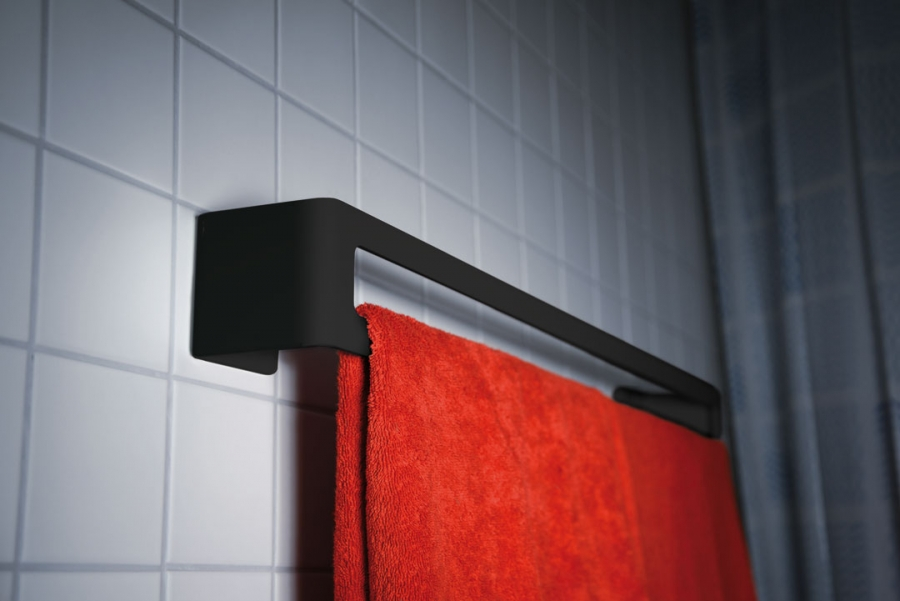 BATH TOWEL HOLDER BLACK - ADHESIVE