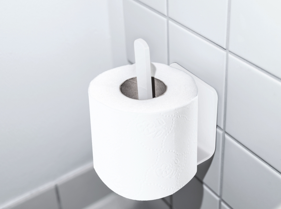 TOILET PAPER HOLDER 2 WHITE - ADHESIVE