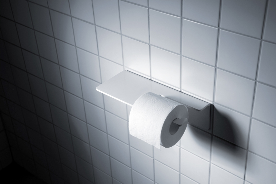 TOILET PAPER HOLDER WHITE - ADHESIVE