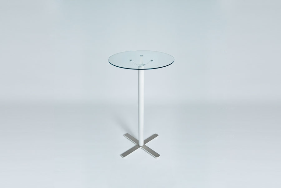 TABLEDANCE STANDING TABLE, GLASS, WHITE