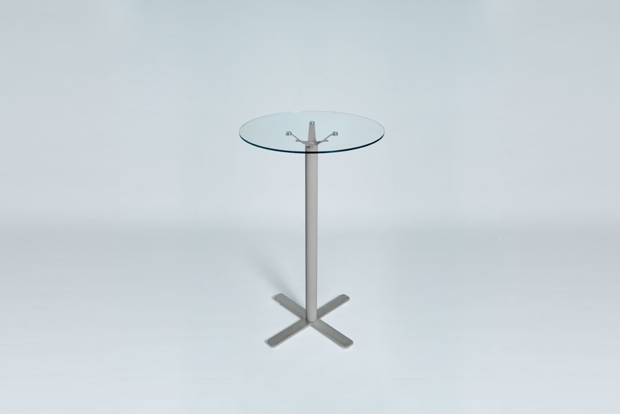 TABLEDANCE STANDING TABLE, GLASS, SILVER