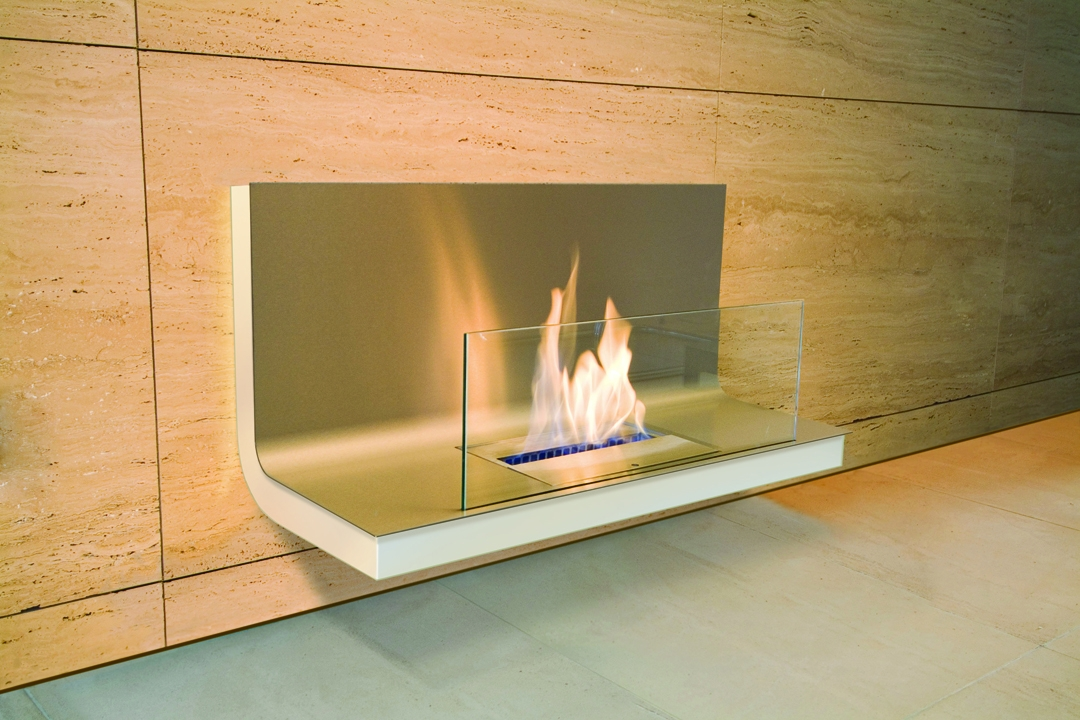 bio ethanol fireplace wall flame stainless steel white. Black Bedroom Furniture Sets. Home Design Ideas