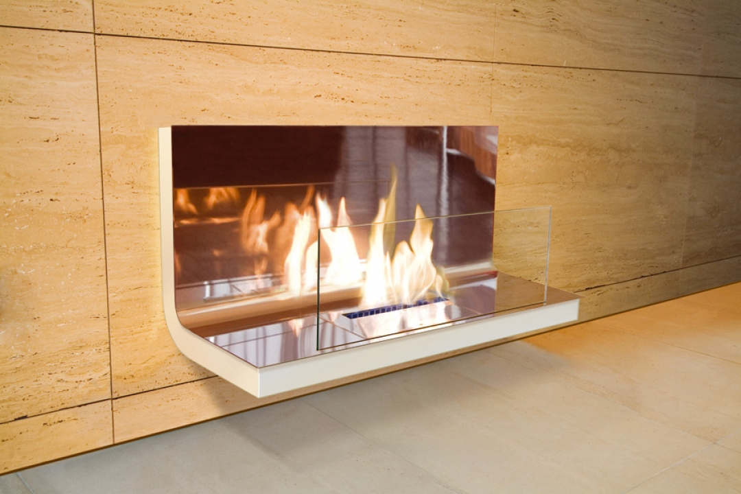 Bio Ethanol Fireplace Wall Flame Polished White Radius