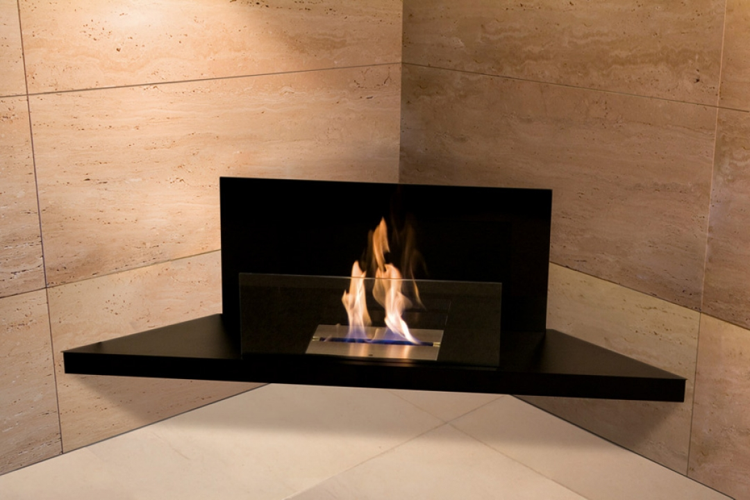 Bio Ethanol Fireplace Corner Flame Steel Black Glass