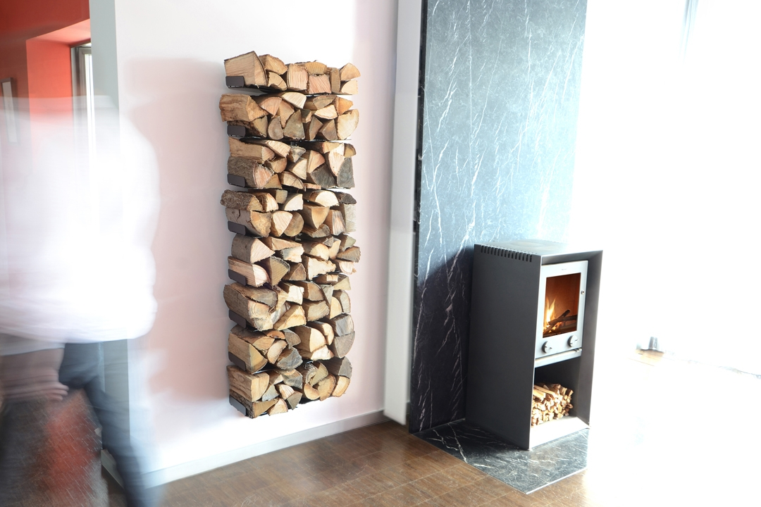 Firewood Shelv Wooden Tree Wall Big Radius Design